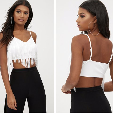 e6d5c500af8 Pretty little thing white tassel crop top. Only worn once a - Depop