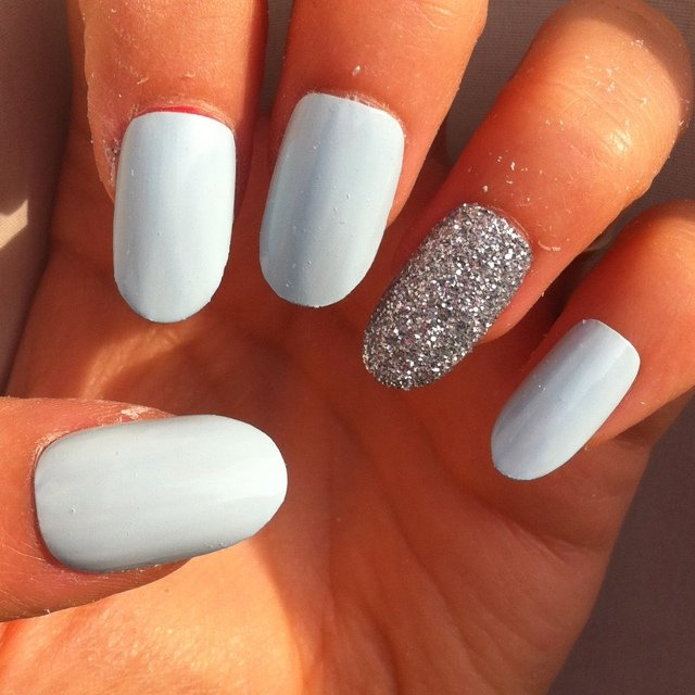 Pale blue and glitter rounded and matte black stiletto false - Depop