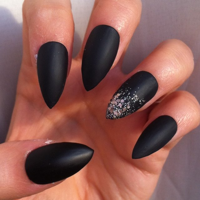 Matt black and ombre graduated glitter stiletto false nails - Depop