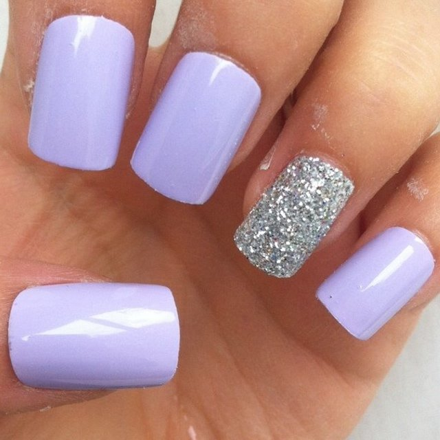 Lilac Square With Glitter Accent Nail False Nails I Hand And