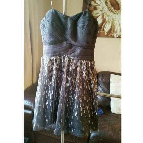 d26aa9e5596 Hailey by Adrianna Papell. Strapless glitter flare dress. of - Depop