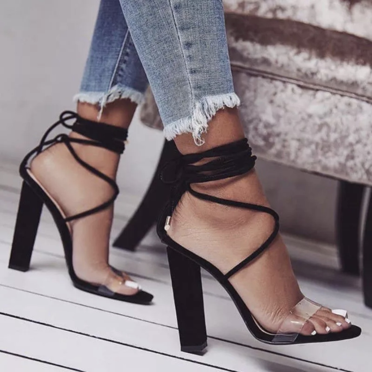 Black tie up block heels with clear