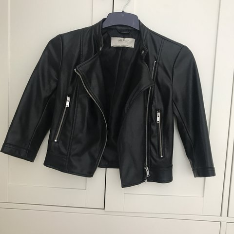 3a1993f6 Zara xs black leather look jacket. Cropped sleeves. Xs. Only - Depop