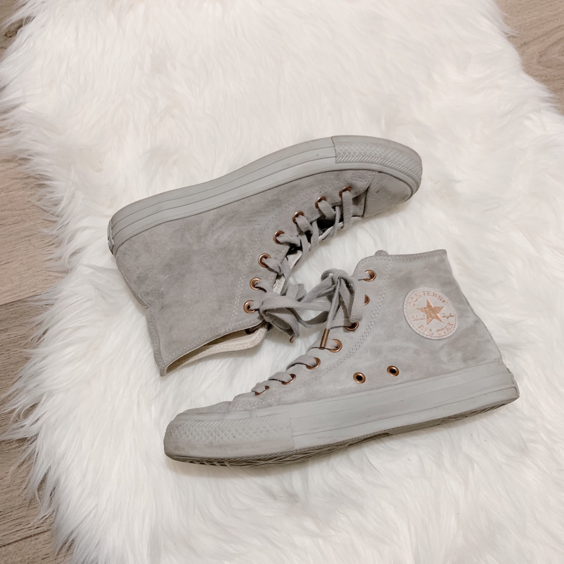 Ladies, Converse, Grey Suede, Rose Gold, Limited Depop