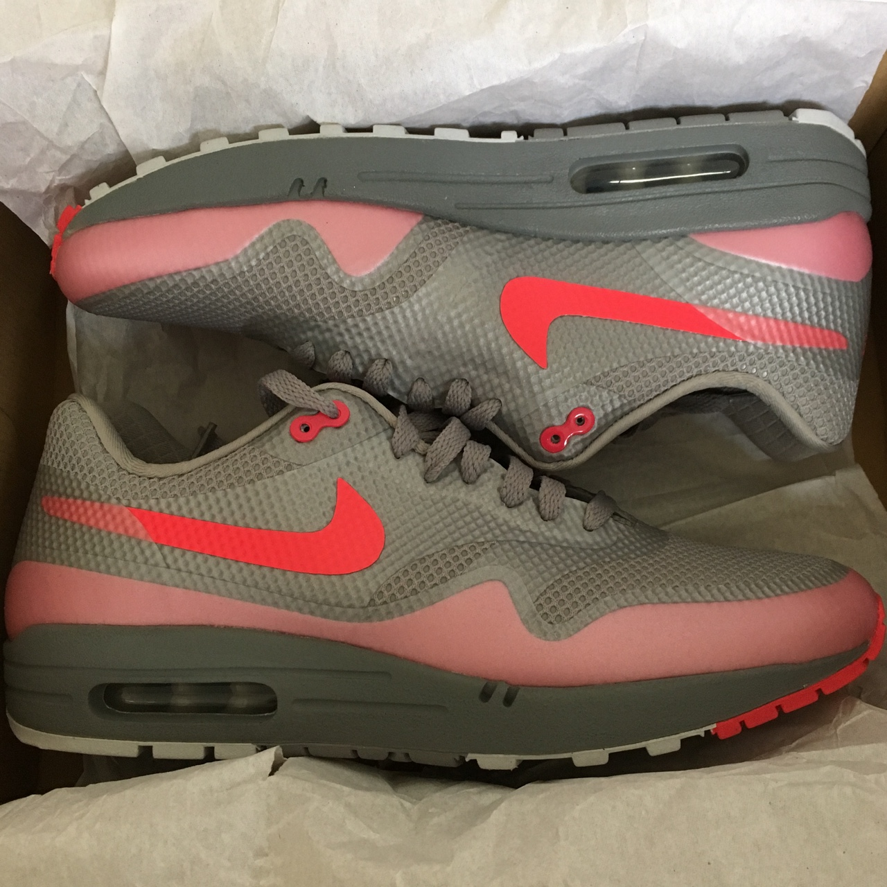 Nike air max 1 hyperfuse grey solar red size 8, Depop
