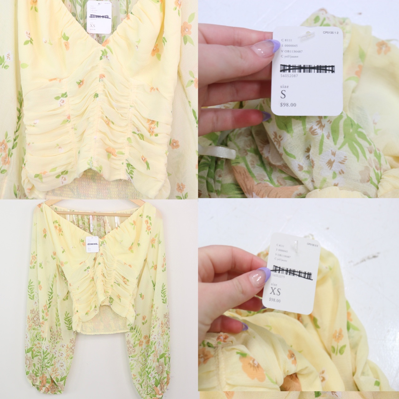 Free People - Yellow Ruched Floral Top