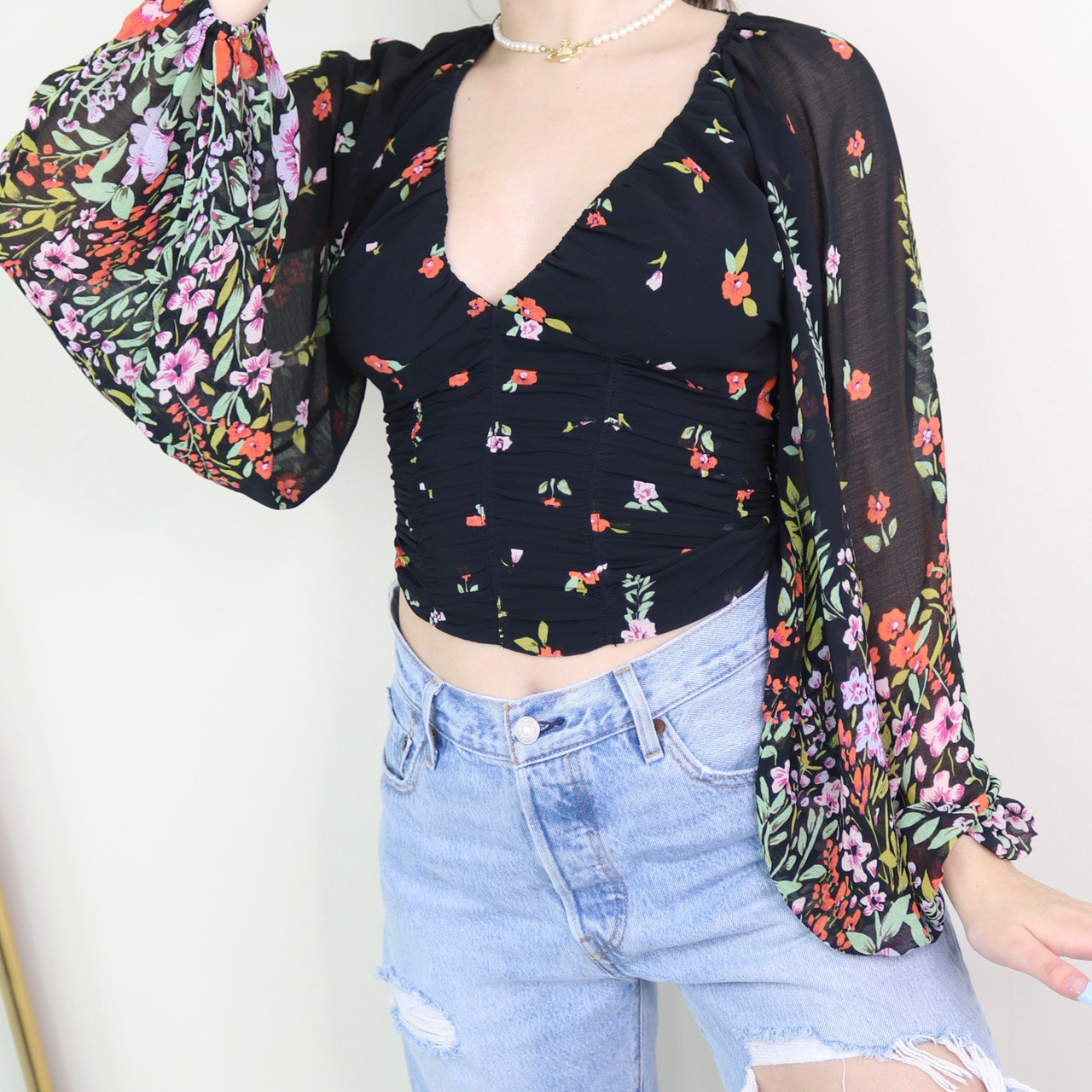 Free People - Black Multi Colored Ruched Floral Top