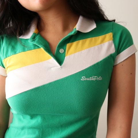 b9ca391eea7df Green South Pole polo shirt. A nice white and yellow band a - Depop