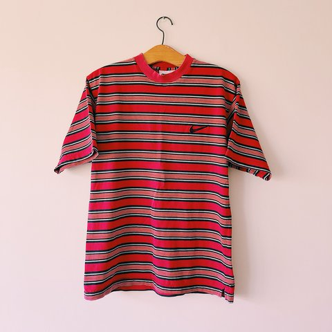 9ee7d44d @georgedc1. last year. East Sussex, United Kingdom. Vintage Red Nike striped  stripey T shirt. Could fit medium