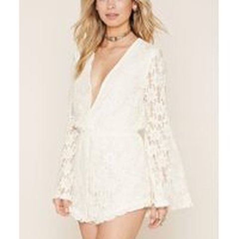 3a3b345d697 Forever 21 floral lace romper. Bell sleeves - Depop
