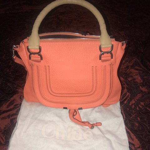 e088dd707b0 @ronkeban123. in 16 hours. London, United Kingdom. Authentic Peach Chloe  Marcie medium textured-leather shoulder bag ...