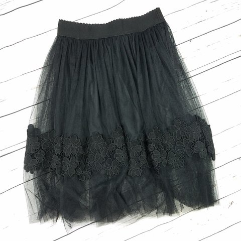 5317cae95 Francesca's black flora tulle lace skirt. New with tags. - Depop