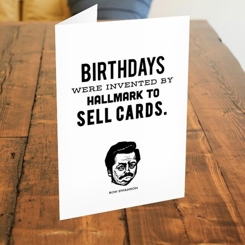 Ron Swanson Guide To Life Birthdays Card Badass card the a Depop