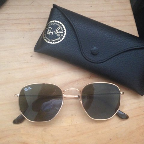 8833a63f6 @lrnpreston17. 2 years ago. Liverpool, UK. Ray-Ban Hexagonal Flat Lenses.  Gold/Green Classic ...
