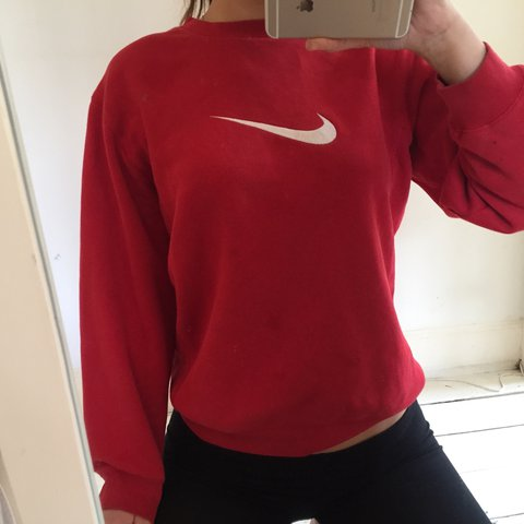 674638743b93f Red Nike crew neck jumper with white swoosh tick logo
