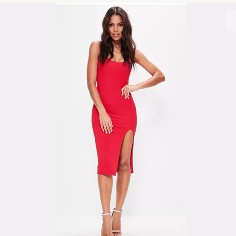 45b77dc056f7 @cijmc. 5 months ago. Belfast, United Kingdom. Missguided red strappy scoop  neck bodycon midi dress ...