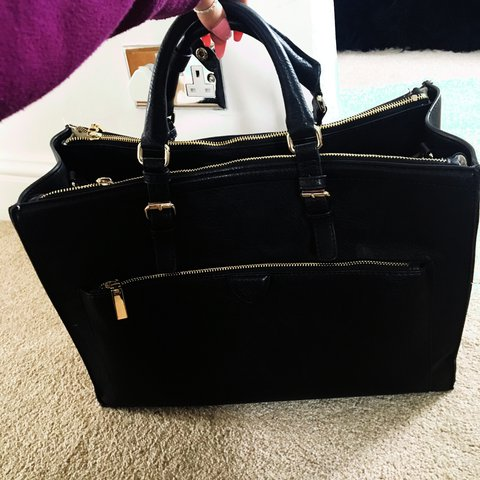 c0a6d7c53e5c38 Large black Zara bag. Perfect size to fit a laptop in. Real - Depop
