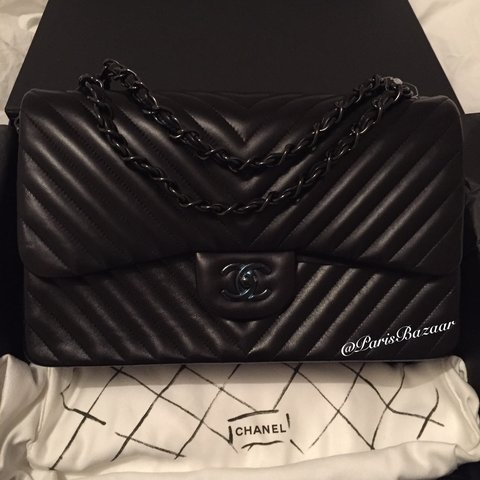 154e074e8ecc9f @parisbazaar. 3 years ago. Paris, France. Chanel Chevron So Black Jumbo  flap bag! Brand new in box.
