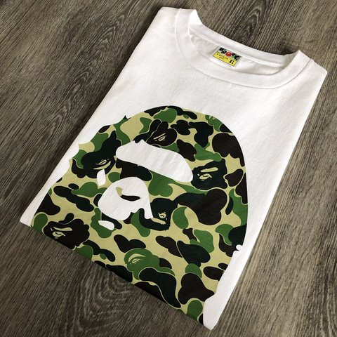 777da94212ac Bape a bathing ape abc green camo ape head t shirt Size to - Depop