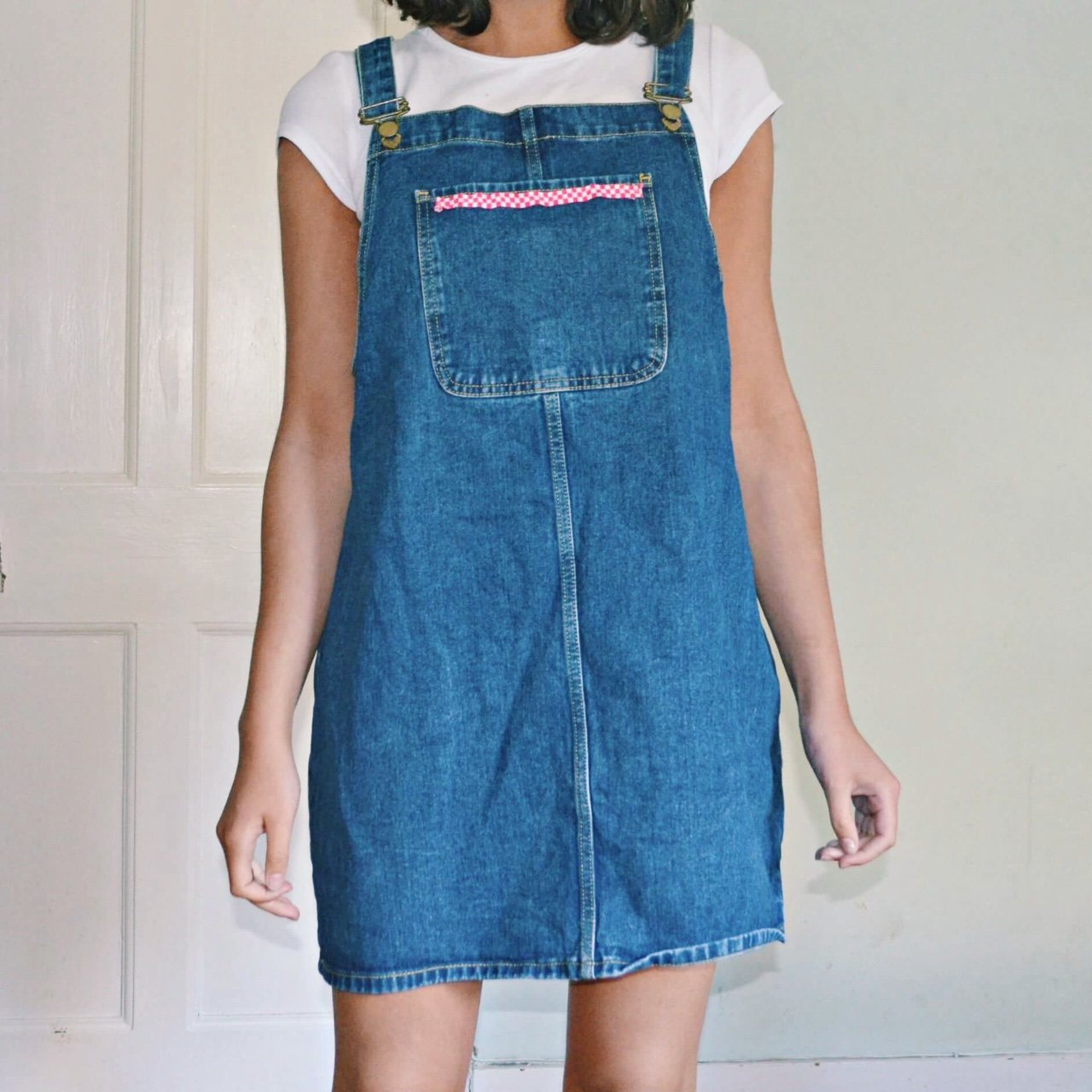 756c432ed02  elle5. last year. United Kingdom. 🍓🍓 Adorable vintage 90s dark blue denim  dungaree dress ...