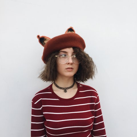 691de435ea666 Beautiful Hand Made Fox Beret   Fox Ears - Kawaii Harajuku   - Depop