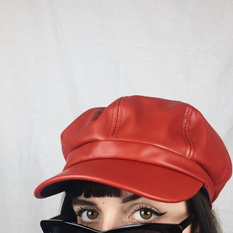 b1f9dcb112661 ON HOLD ⚠ Amazing Y2K Red Faux Leather Baker Boy Hat - on - Depop