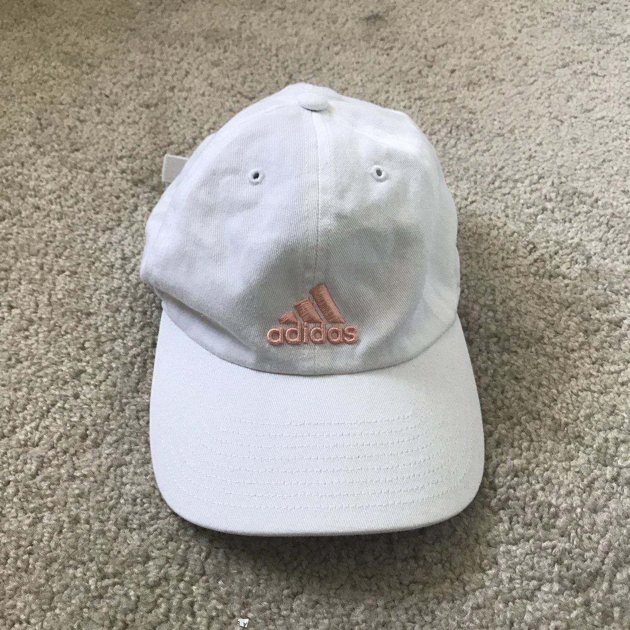 d8dace078a5 Adjustable Climalite White and Pink Adidas Baseball hat  hat - Depop
