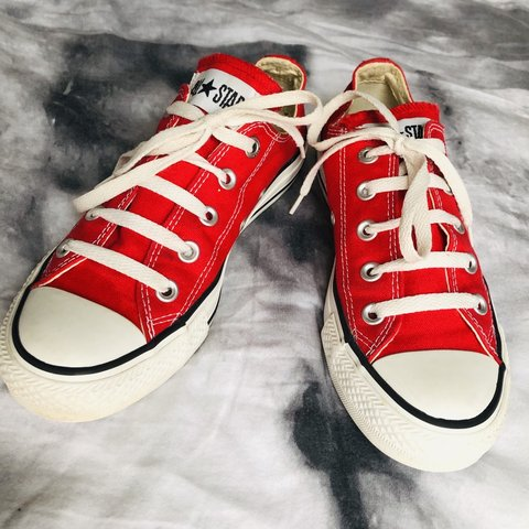 5ad7d0b745a1 Red Converse Sneakers   Women s Size 6   8 out of 10   Green - Depop