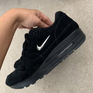 Nike Air Max Jewels Black suede with silver tick Depop