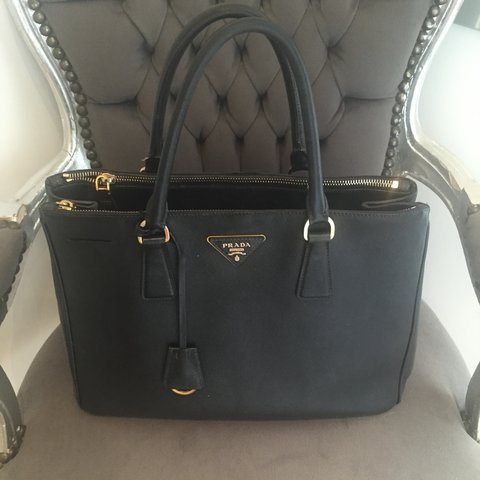0eb26e29f78974 Prada safiano medium tote in black. Authentic comes with box - Depop