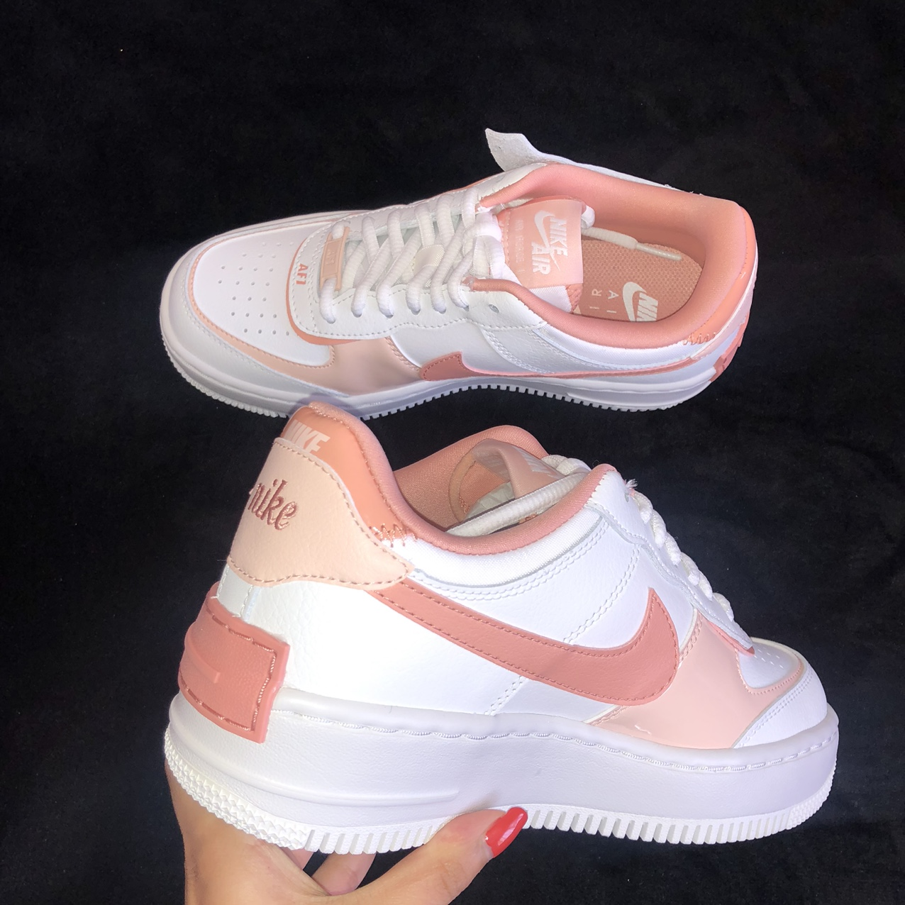 Nike Air Force 1 Shadow Pink Quartz Summit White Depop Crafted with double the swoosh and twice the overlays across the eyestays. nike air force 1 shadow pink quartz