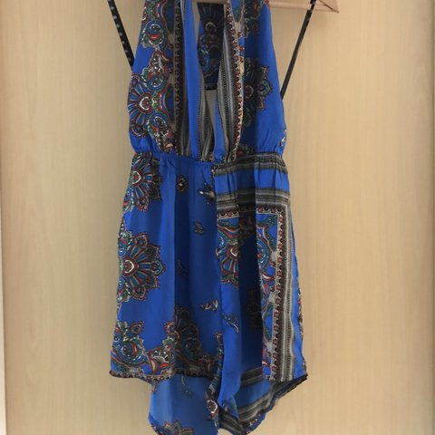 5749a208c9 Missguided Blue Paisley Plunge Playsuit. Only worn once. RRP - Depop
