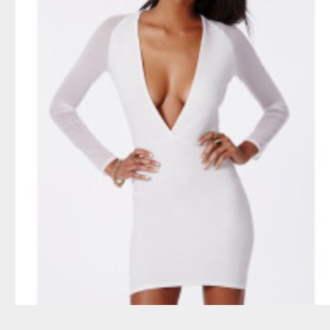 047424315c Missguided White mesh sleeve plunge bodycon dress bought for - Depop