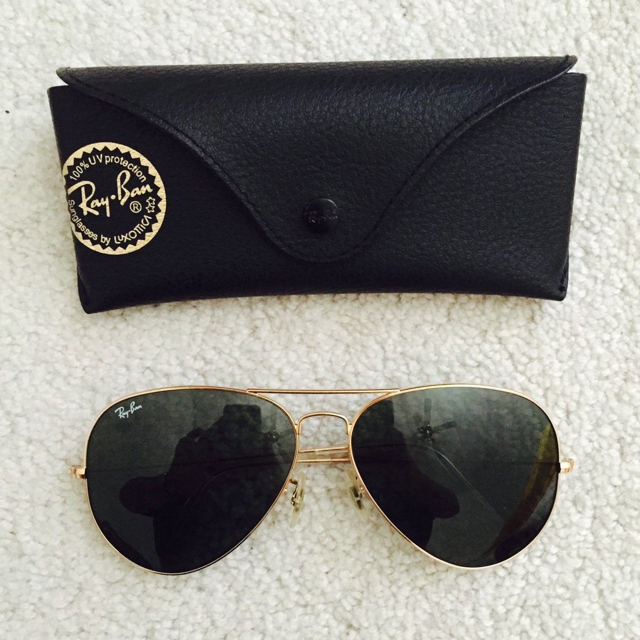 12db01e721d New Ray bans with case! Barely worn! Gold metal sunglasses - Depop