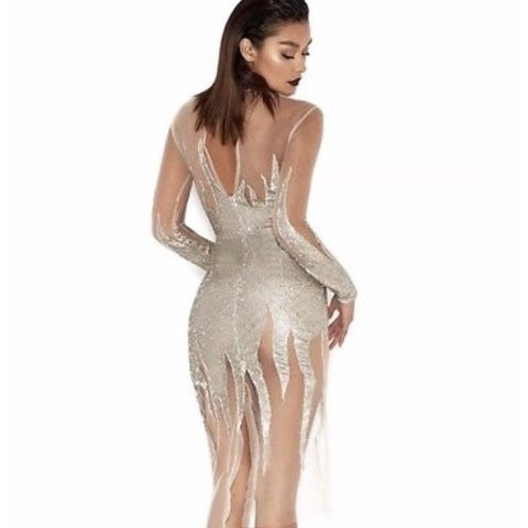 House of CB XS maxim silver flame sequin dress limited RRP  - Depop 9fdc27339