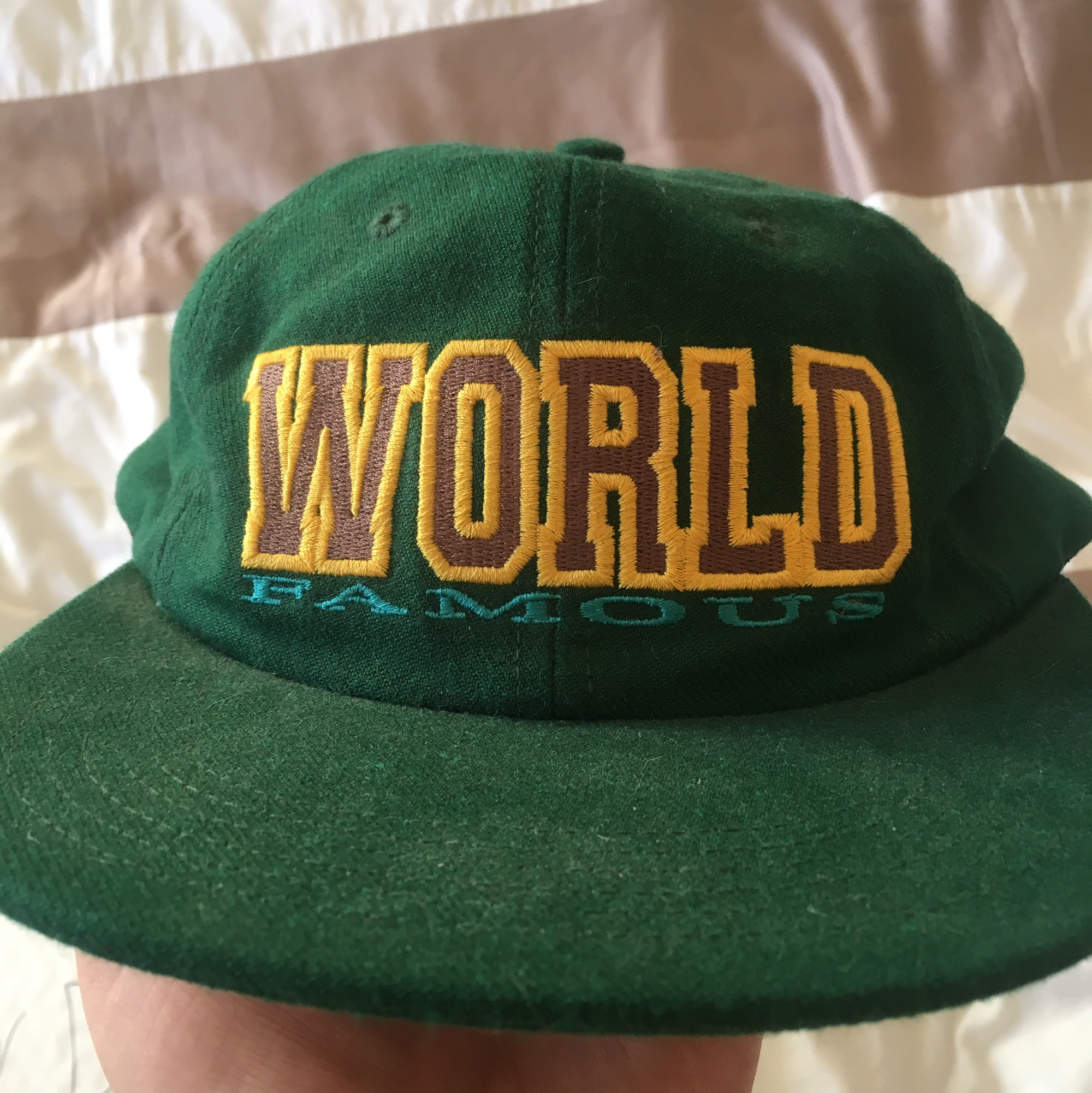 Supreme world famous green 5 panel. Not in best Depop
