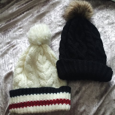 c6bc1223c88 2 knit pom-pom beanies. selling as a bundle😊 both super and - Depop