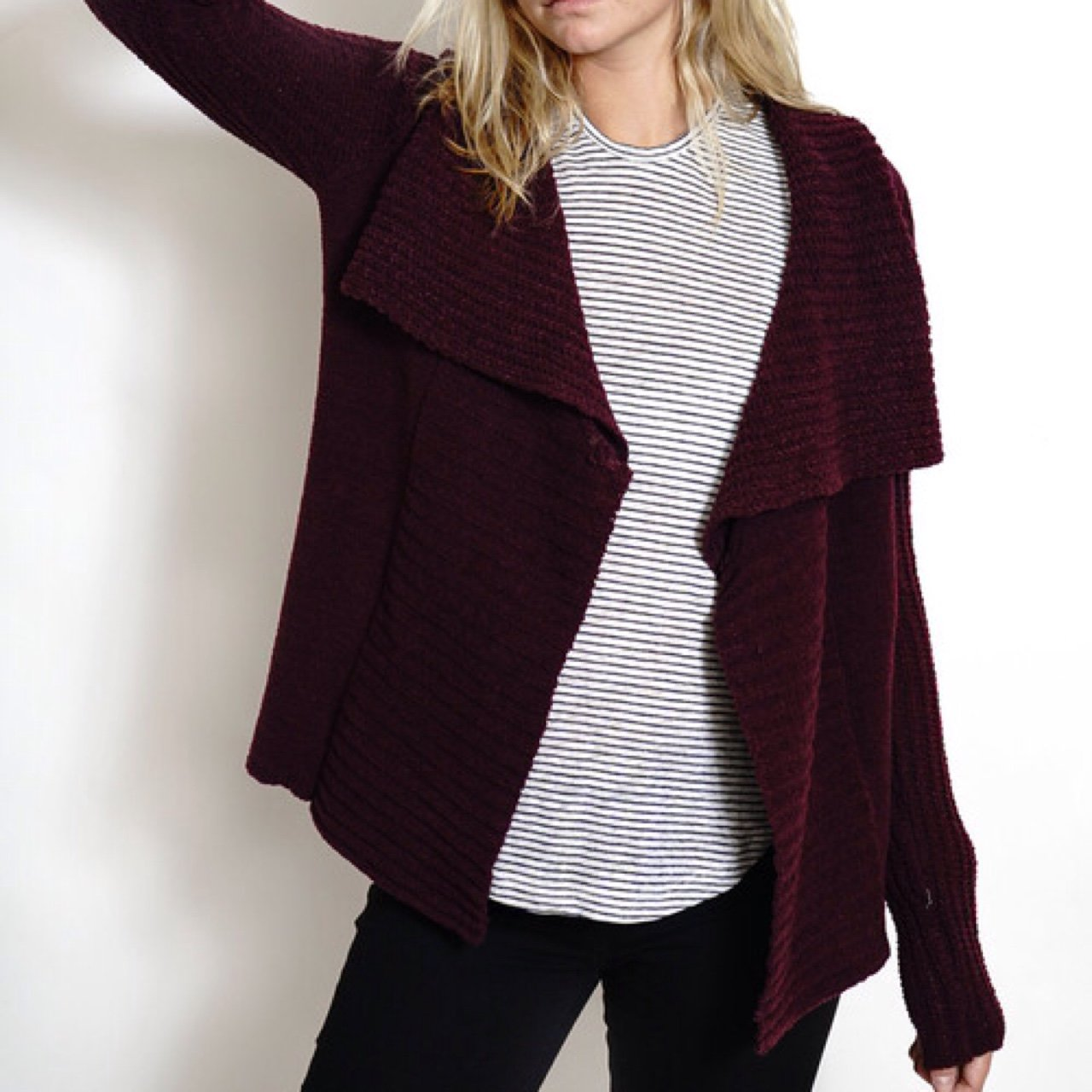 1993123b72 H M Burgundy Knit Open Front Cardigan - Color is maroon
