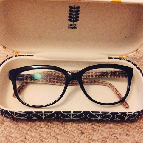 341e4aee2887 Orla Kiely black glasses. Good condition and come with case - Depop