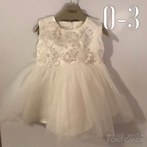 86d0b54c28ab0 Beautiful white baby girl dress 0-3 months lovely floral on - Depop