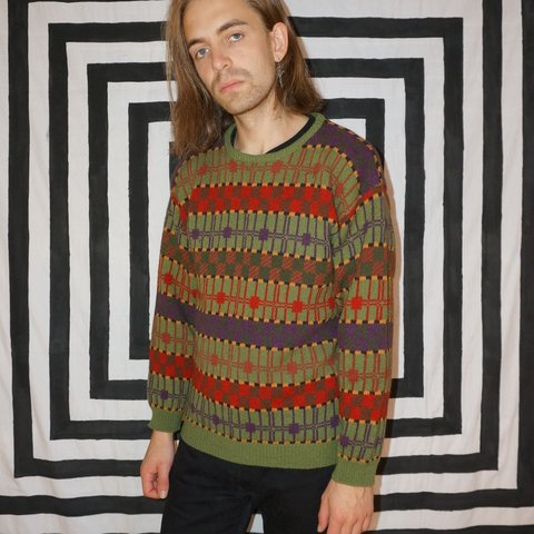 92e9239e3046 Vintage 80s Colourful Patterned Jumper The classic striped - Depop