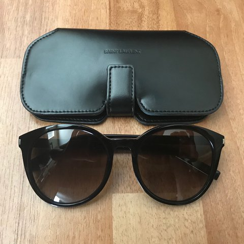134662c19a128 Like new! Saint Laurent black acetate Classic 6 logo at at - Depop