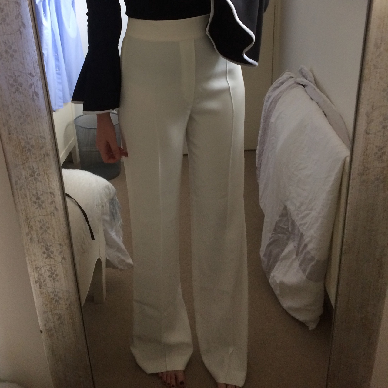 best selling big selection authentic Zara off white/cream high waisted wide leg trousers.... - Depop