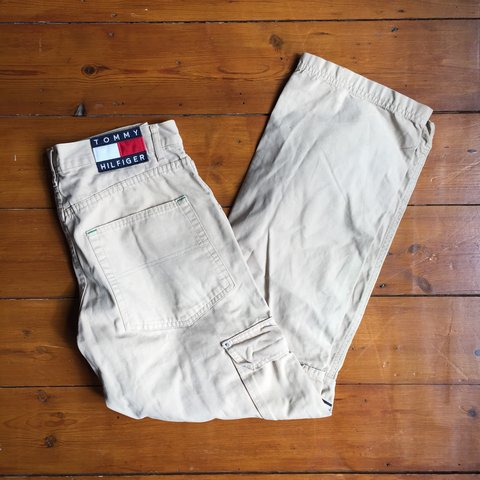 0cd4dc7f @varsityvintage. 9 months ago. Mansfield, United Kingdom. VINTAGE TOMMY  HILFIGER BEIGE ARMY CARGO PANTS TROUSERS