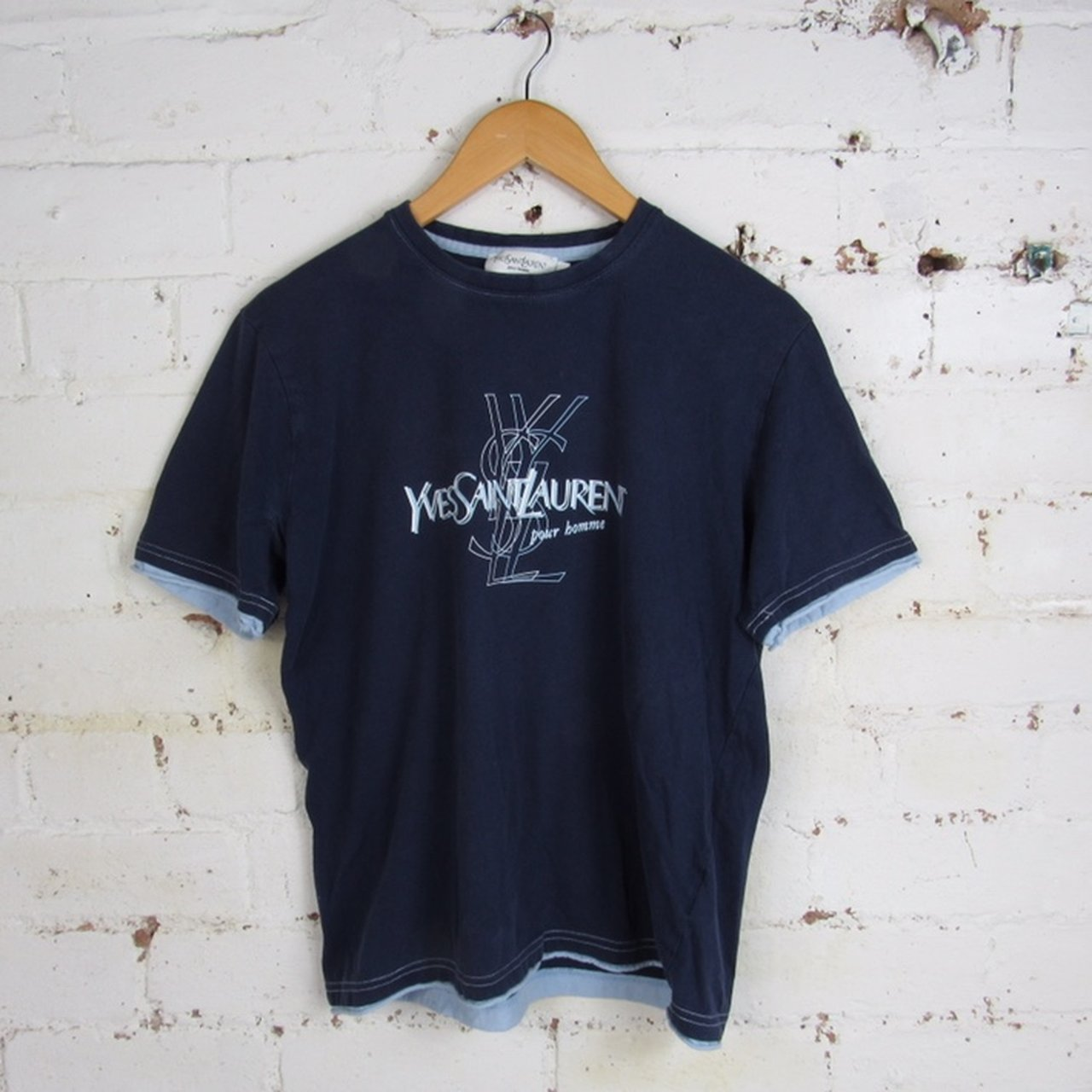 9aebbbc8 @varsityvintage. 28 days ago. Wolverhampton, United Kingdom. VINTAGE YVES  SAINT LAURENT YSL BLUE CREWNECK SPELLOUT SHORT SLEEVED T-SHIRT SIZE WOMENS  ...