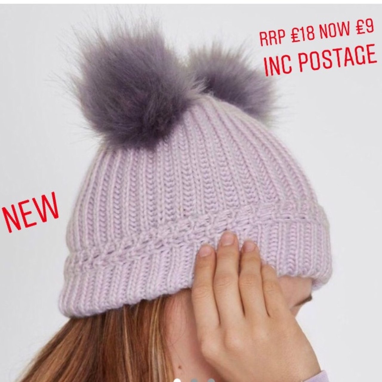 9668071c414bd River island cute double pom hat only used once for an hour - Depop