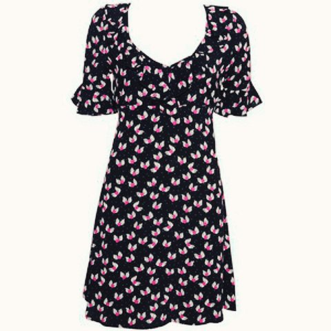 Black tea dress with purple hearts pictures