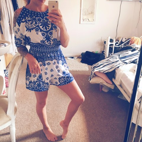 ffe324afdd8 Amazing cold shoulder playsuit from asos gorgeous blue and - Depop