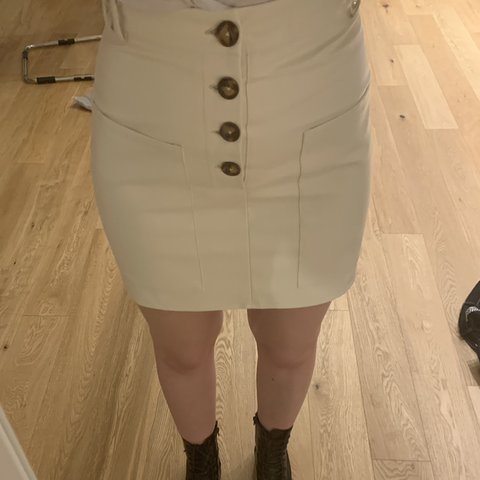 c7f51561c7 @lucyharding93. last month. Manchester, United Kingdom. Missguided  cream/off white faux leather skirt.
