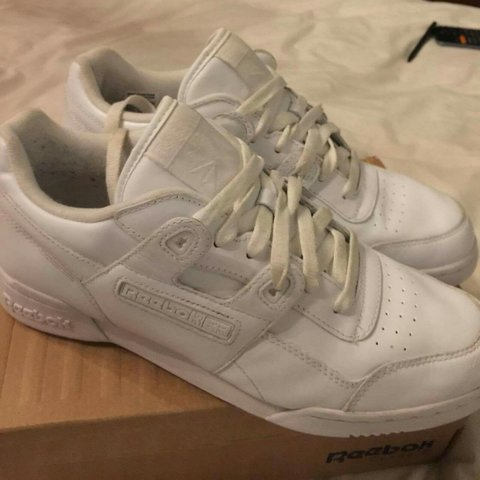 960b112b8091e Reebok workout plus in all white size UK 9 could fit a 9.5. - Depop